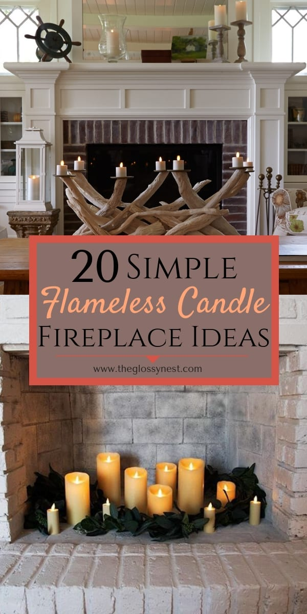 a fireplace mantle with flameless candles