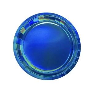 Plato de Carton Iridiscente Azul