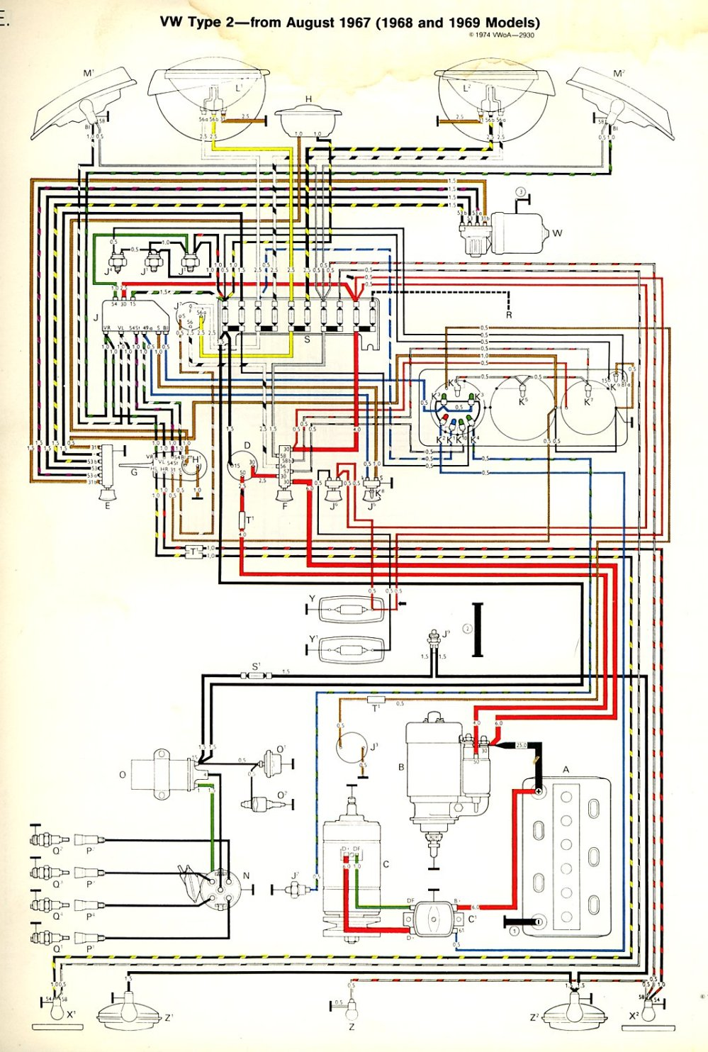 medium resolution of 1968 69 bus wiring diagram thegoldenbug com 1998 mazda b2500 fuse box diagram vw bus fuse box diagram