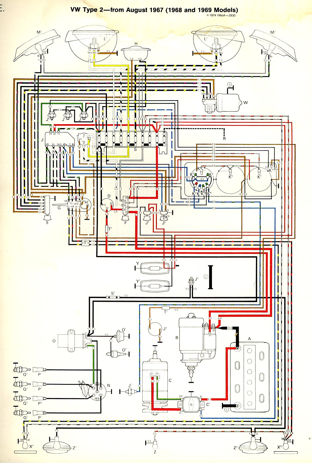 hight resolution of 1968 69 bus wiring diagram thegoldenbug com 1998 mazda b2500 fuse box diagram vw bus fuse box diagram
