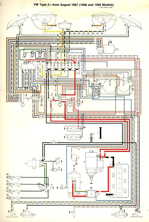 small resolution of 1968 69 bus wiring diagram thegoldenbug com 1998 mazda b2500 fuse box diagram vw bus fuse box diagram