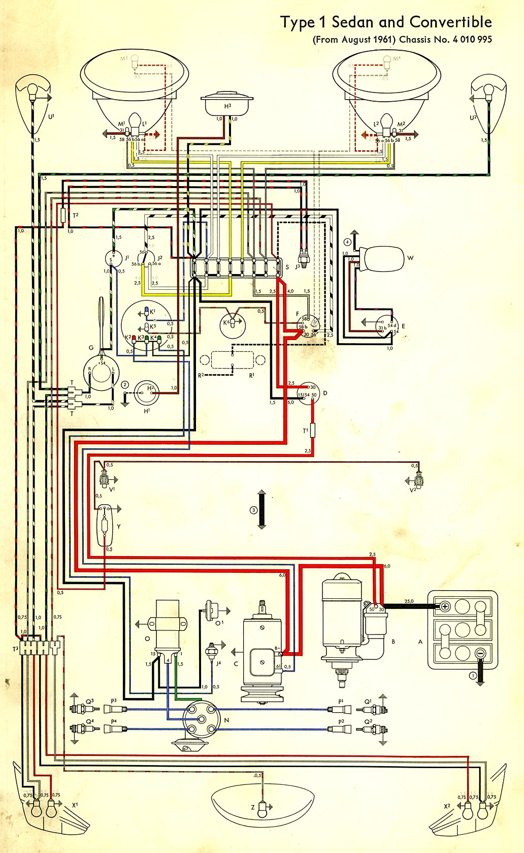 vw wiring diagram alternator craftsman garage door 1962 beetle | thegoldenbug.com