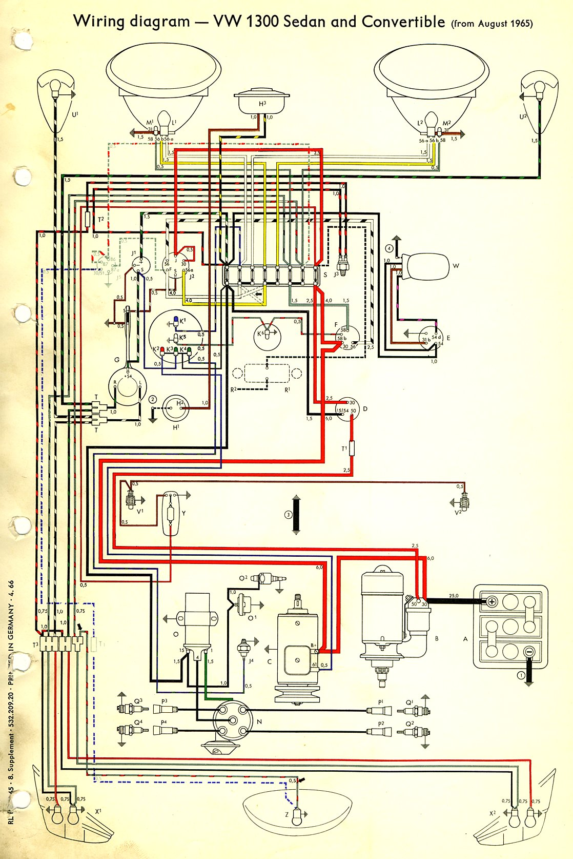 1968 Vw Bug Wiring Diagram 1966 Beetle Wiring Diagram Thegoldenbug Com