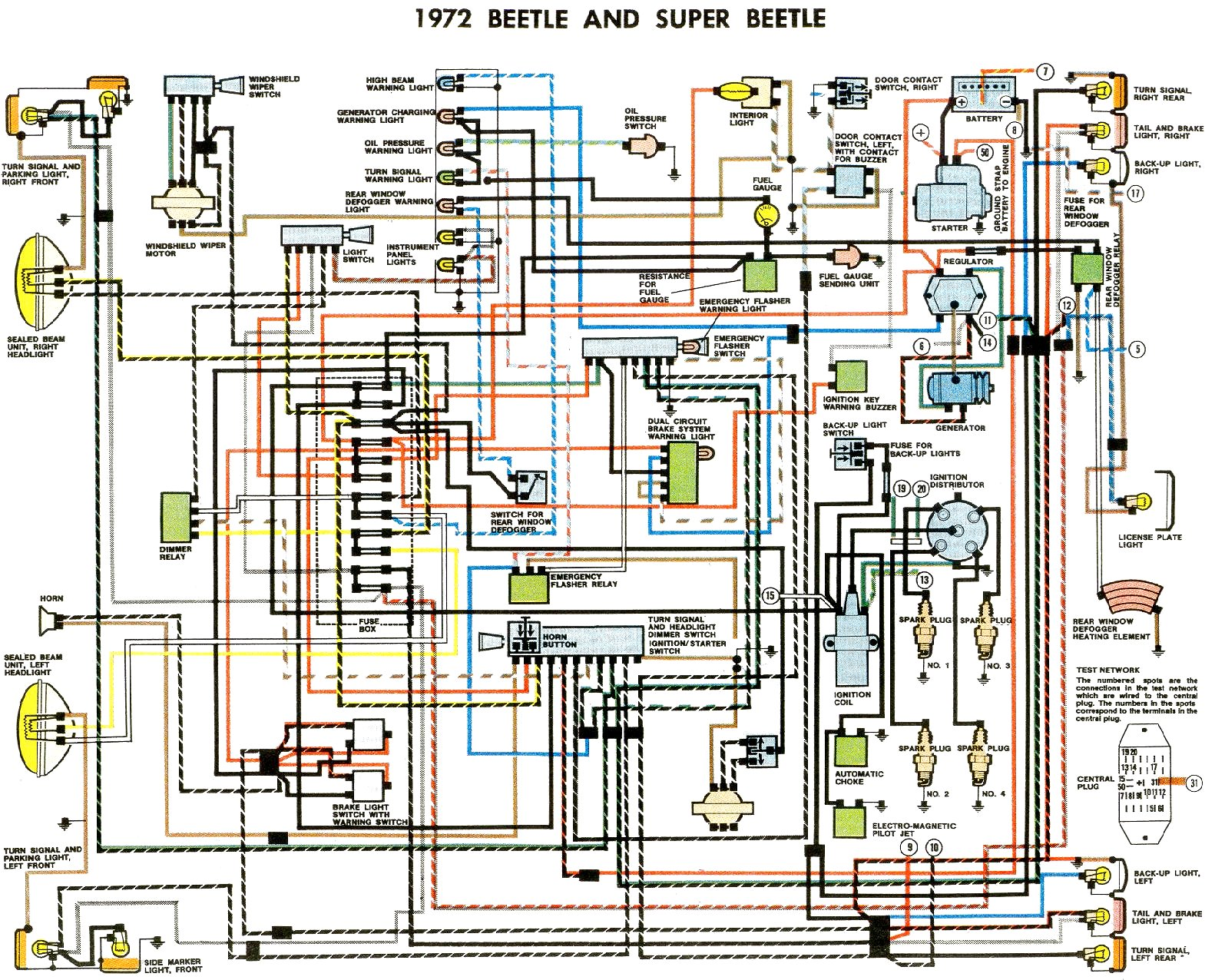 vw beetle wiring diagram 1974 1961 vw bug wiring