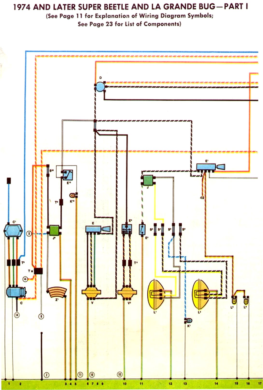 1974 75 Super Beetle Wiring Diagram TheGoldenBug Com
