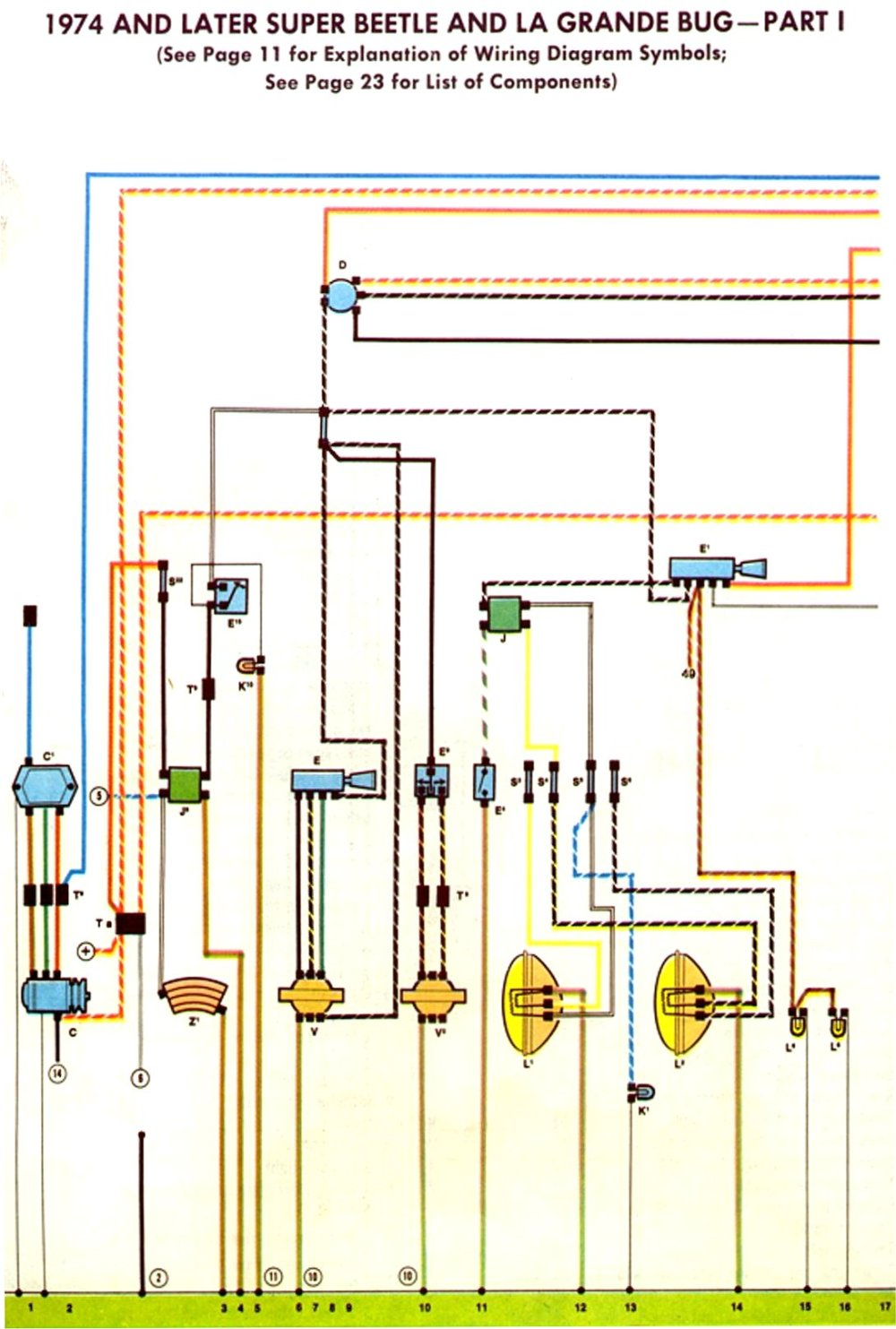 medium resolution of 1974 75 super beetle wiring diagram thegoldenbug com rh thegoldenbug com 74 super beetle alternator wiring connection 77 beetle fuse box wiring diagram