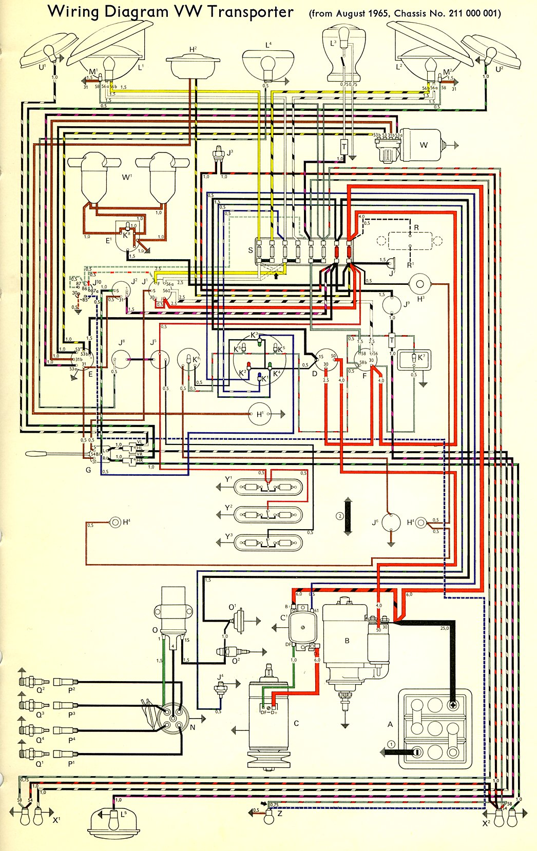 1968 Vw Bug Wiring Diagram 1966 Bus Wiring Diagram Thegoldenbug Com
