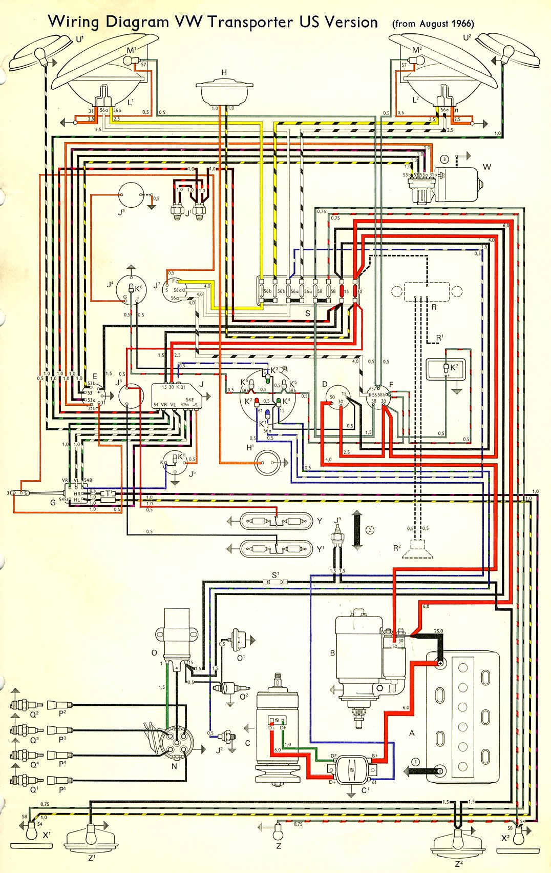 Beetle Fuse Diagram Wiring Schematic 1967 Bus Wiring Diagram Usa Thegoldenbug Com