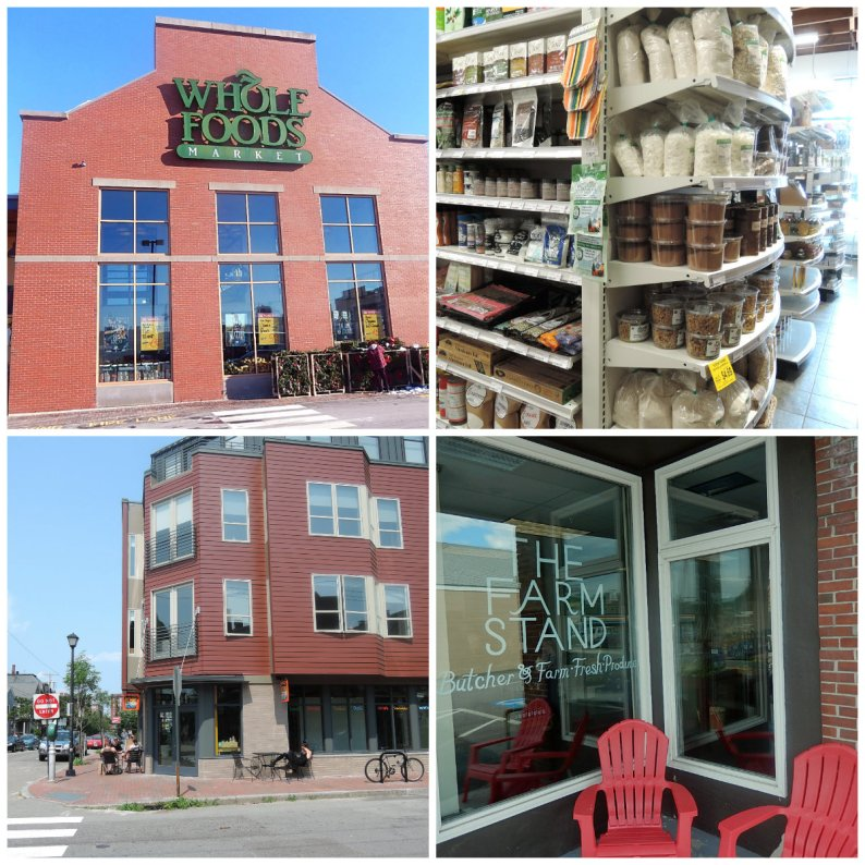 From left to right clockwise: Whole Foods, Lois', Rosemont, The Farm Stand