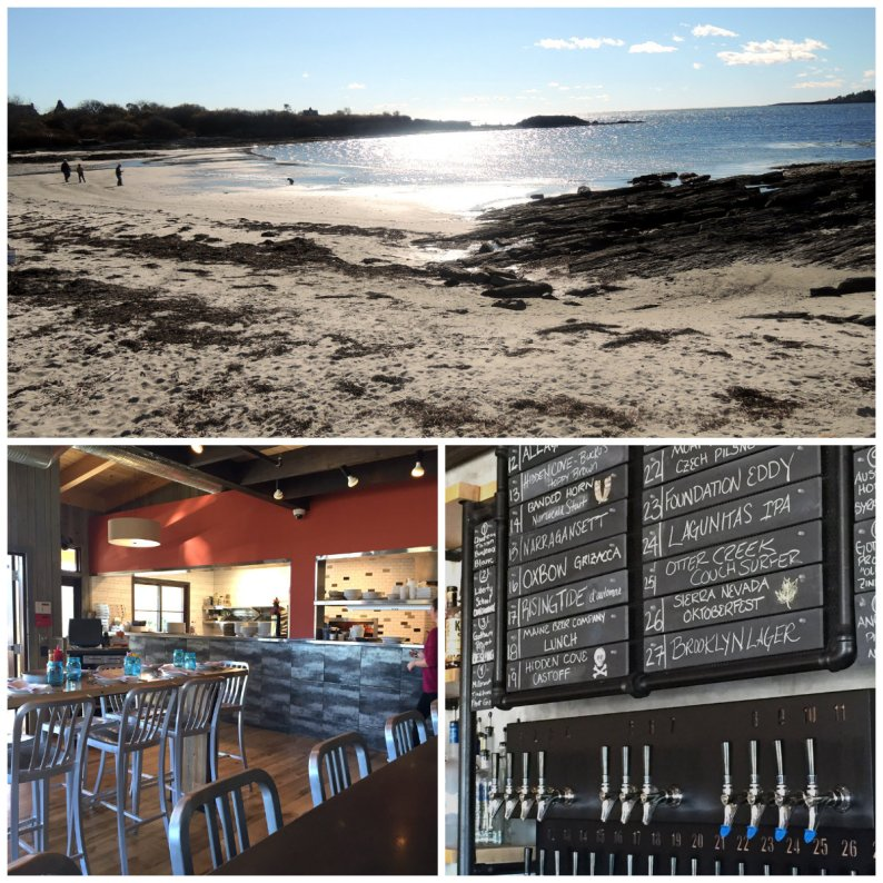 The beach at Kettle Cove, a few streets away from Rudy's; the dining room and bar; chalk board featuring what's on tap (beer and wine)