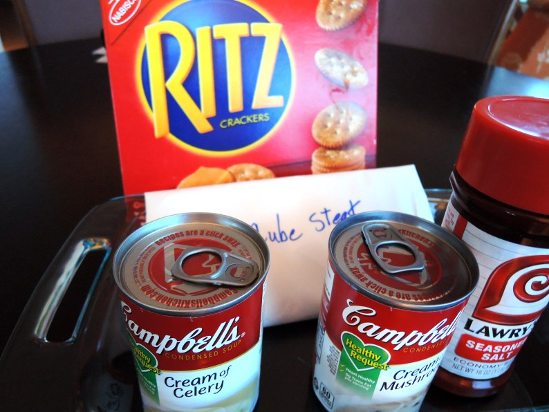 Classics from yesteryear still easily found today: Ritz crackers, Lowry salt, Campbell's soup and butcher's cut cube steak