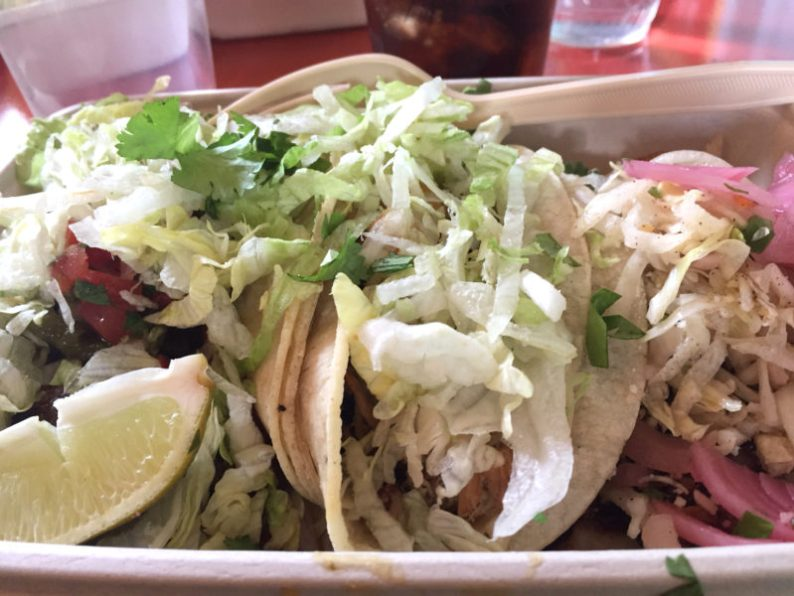 A plate of mix tacos