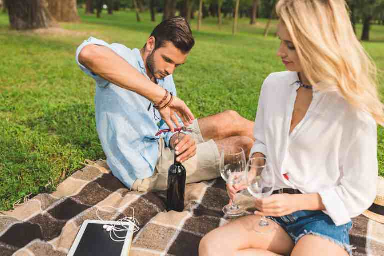 Couple date with wine