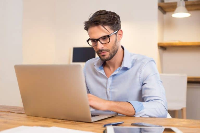 handsome guy using an ultrabook