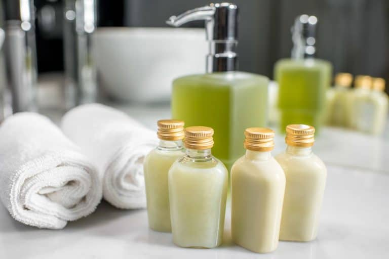 green shampoo containers
