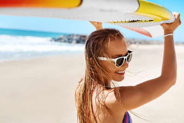 Summer Fun, Holidays Travel Vacation. Surfing. Girl With Surfboa
