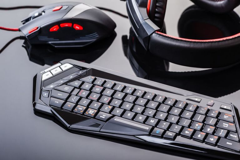 Gaming gear on black