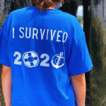Royal Blue Shipwreck'd t-shirt that says I survived 2020