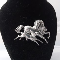 mare and foal brooch