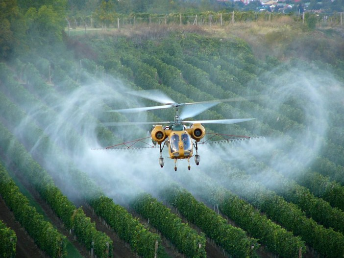 Pesticides: crop spraying from above