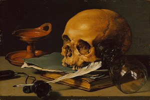 """Still life with skull and quill"" by Pieter Claesz"