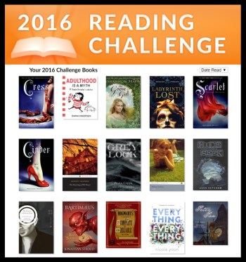 A peek at the books I've read this year for the 2016 Goodreads Reading Challenge