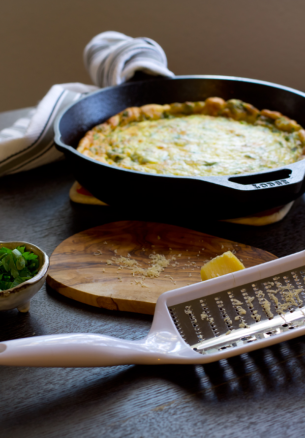 Quick and easy gourmet frittata. Perfect for using up your leftover herbs and cheese. Yum!