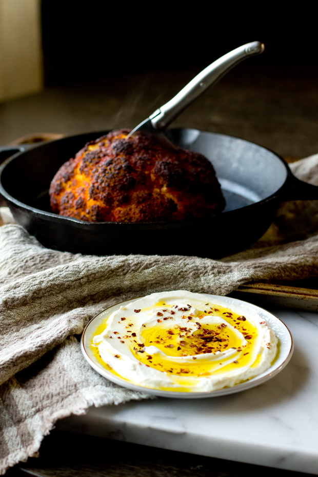 Roasted Cauliflower with Whipped Goat Cheese and Chili Oil - thegourmetgourmand.com