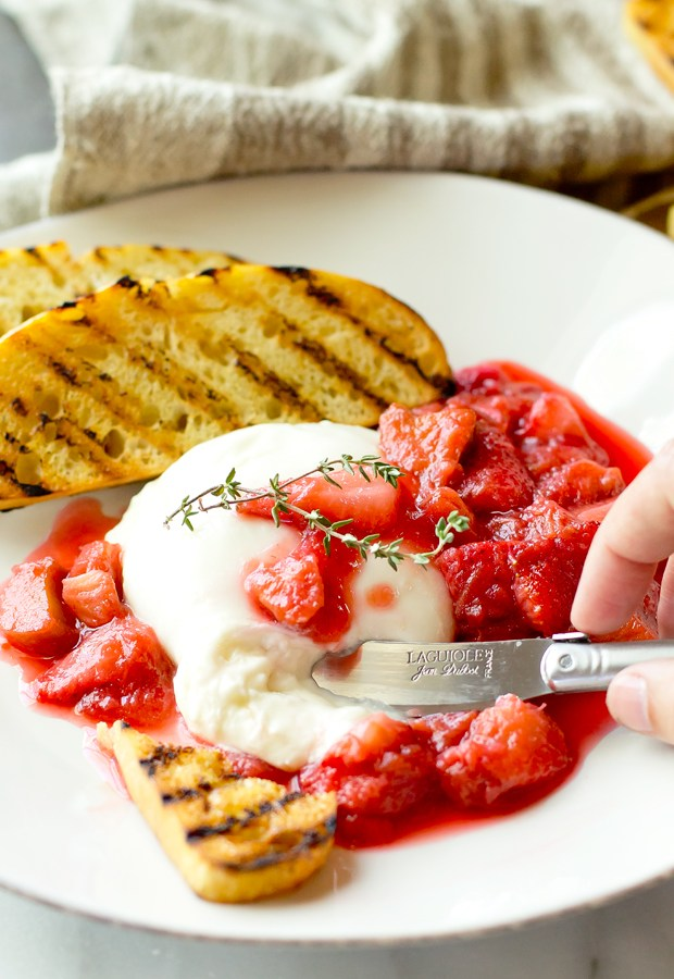 Burrata with Strawberry Rhubarb Compote