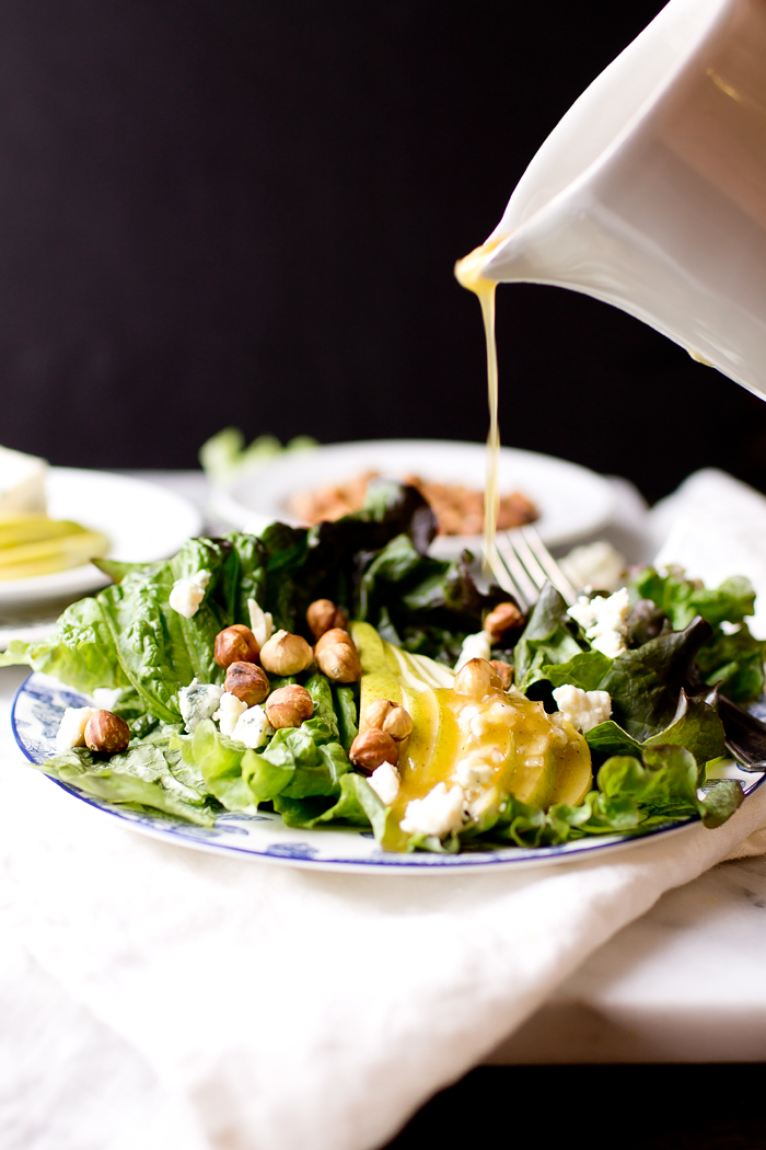Pear Salad with Blue Cheese and Hazelnuts