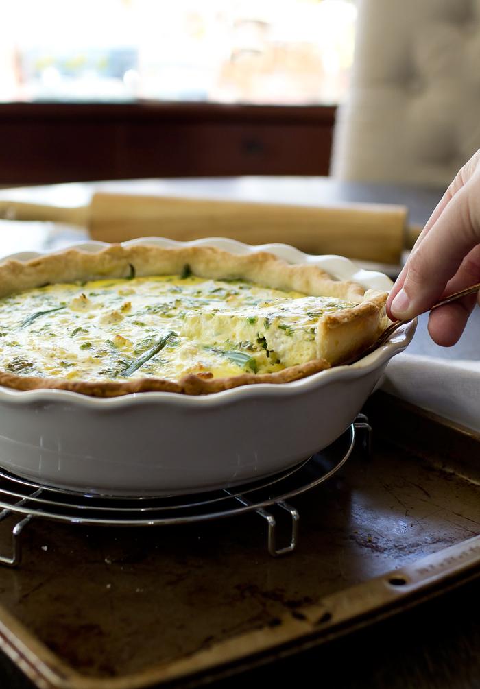 Three Cheese Asparagus Quiche