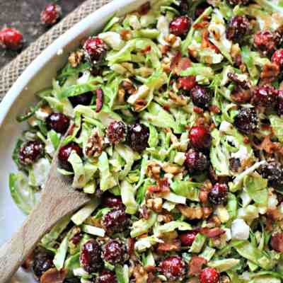 Brussels Sprouts Salad with Sugared Cranberries, Goat Cheese & Walnuts