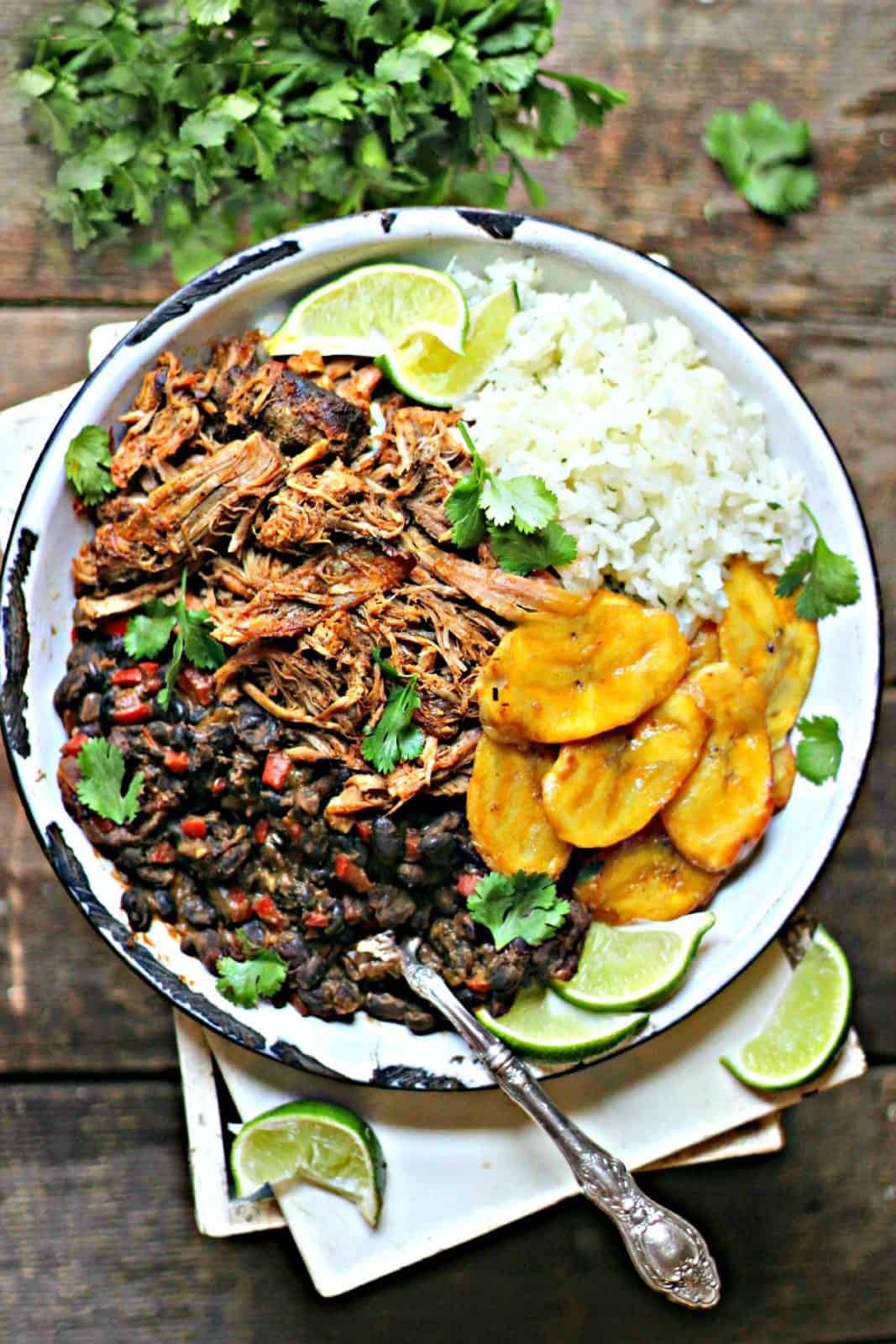 Cuban Pork And Rice With Black Beans And Plantains The