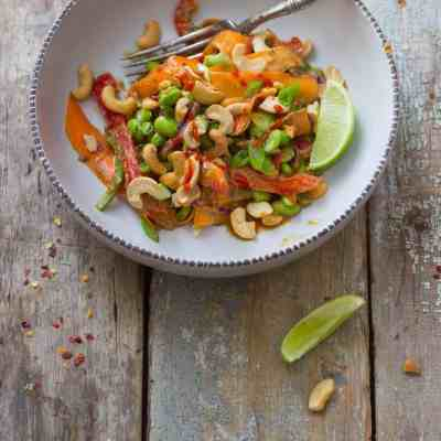 Thai Veggie Salad + Peanut Dressing