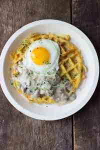 Hash Brown Waffles + Turkey Sausage Gravy