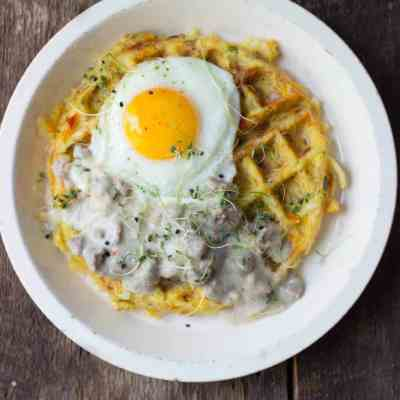 Hash Brown Waffles + Turkey Sausage Gravy