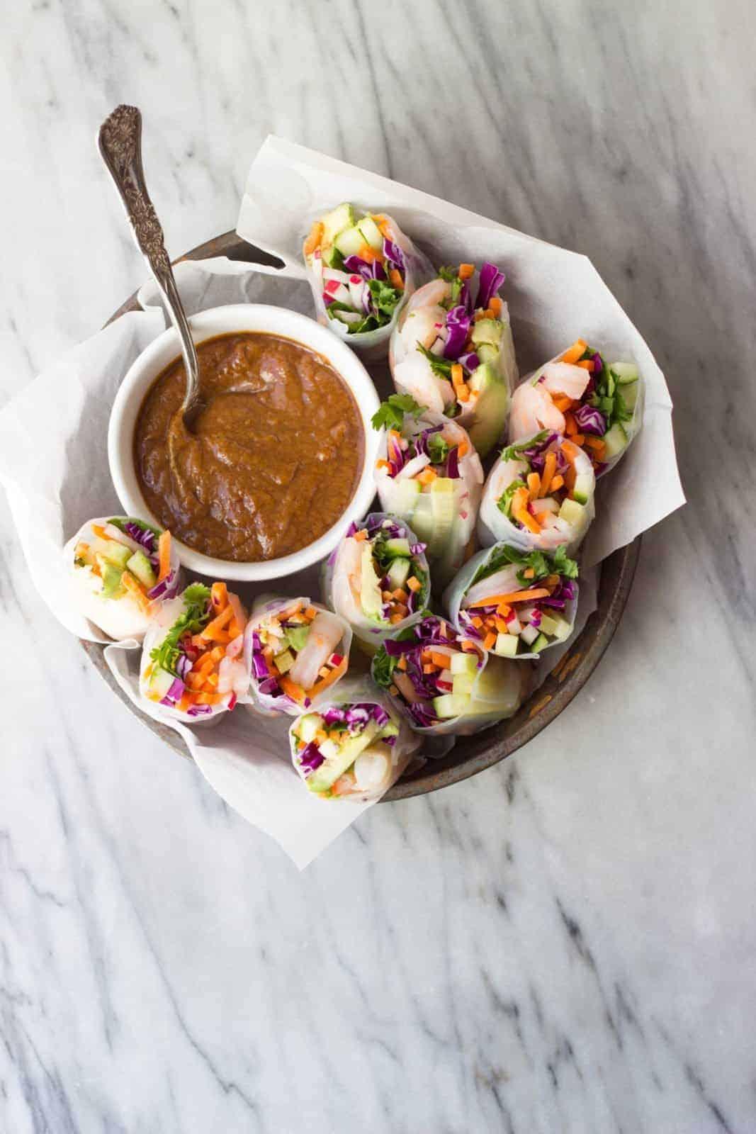 Shrimp vegetable spring rolls with ginger peanut sauce the shrimp vegetable spring rolls with ginger peanut sauce forumfinder Images