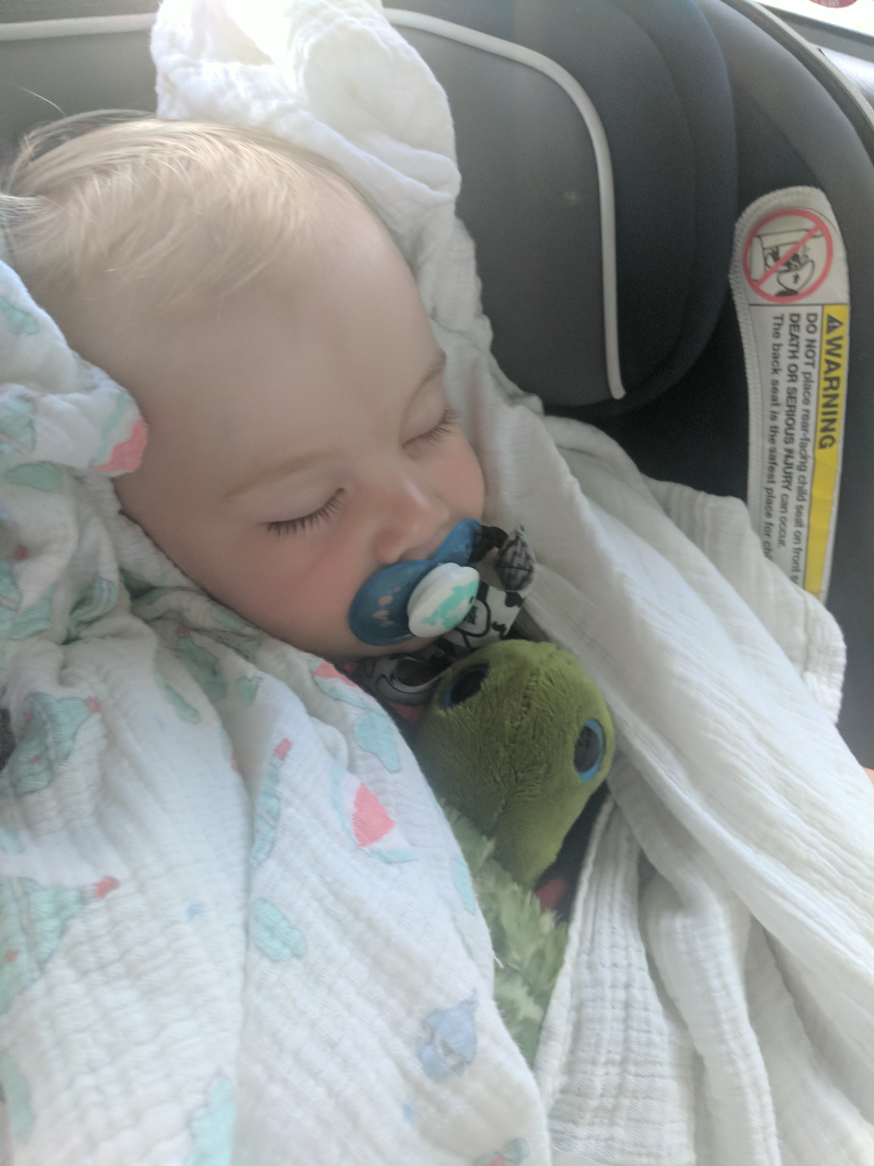 Logan sleeping on the trip, how to happily survive a roadtrip with your toddler