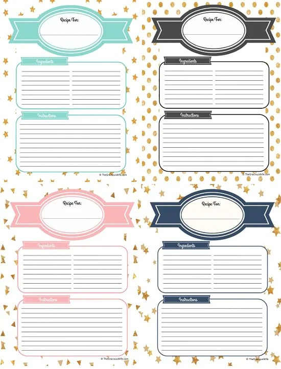 Recipe Binder Cover Page Printables
