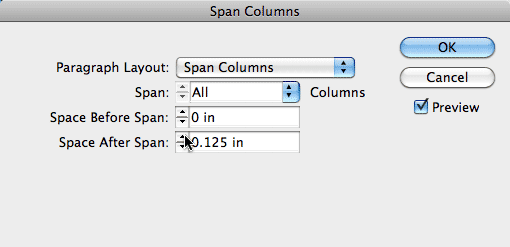 InDesign Span Columns dialog