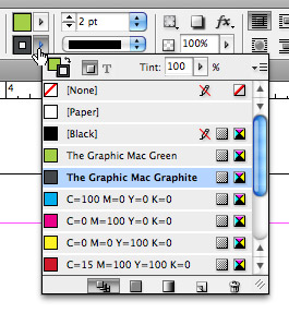 InDesign Control Panel shortcuts for swatches, fill and stroke
