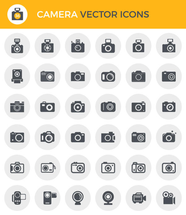 Camera vector icons