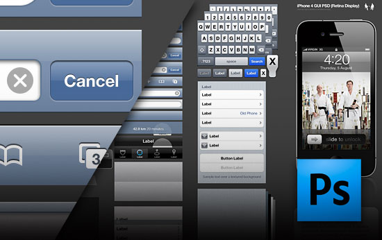 iPhone 4 GUI layered PSD file