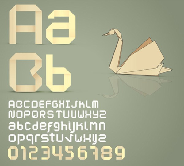 Origami vector font