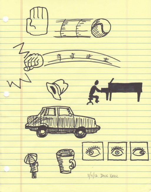 The Graphic Recorder - Doug Neill - Sketching With Sharpies - baseball hand hat piano car eye umbrella coffee cup eye