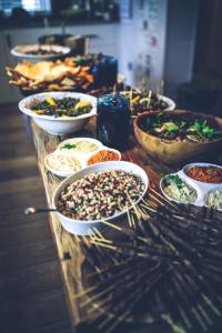 bowls of food on table