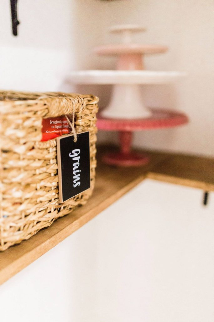 farmhouse pantry baskets and labels