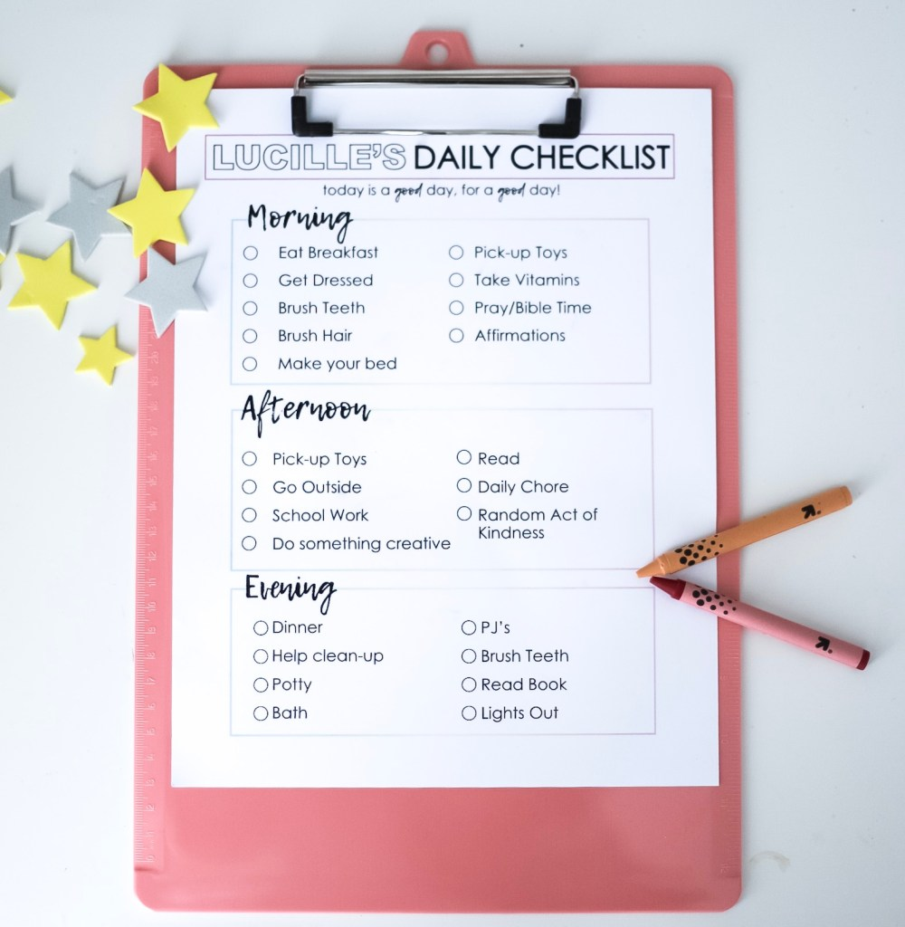 routine chart for kids