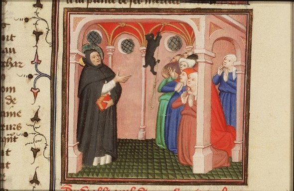 The Devil Appears to St. Dominico of Calerueja Folio 313 Le Miroir Historical 1400-1410, cats in middle ages art