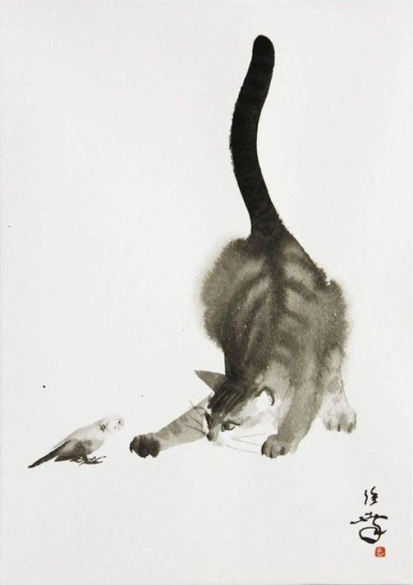 Toshiyuki Enoki, Cat Playing, Watercolor